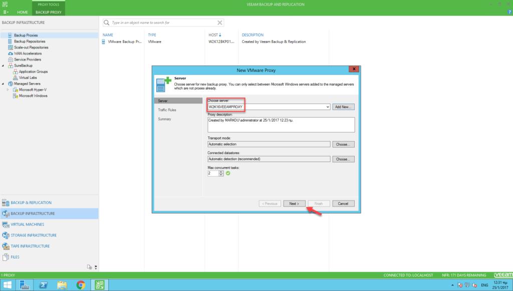 Install Veeam Backup Proxy (VMware) on Windows Server 2016