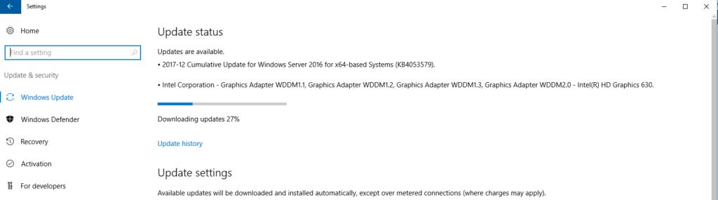 Configure Windows Server 2016 Update Settings using